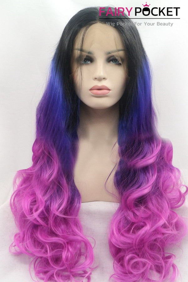Black turns Blue to Vivid Violet Ombre Long Wavy Lace Front Wig