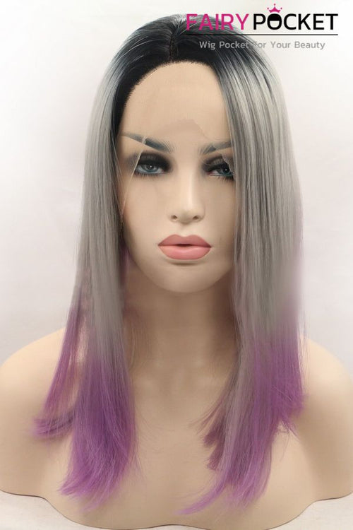Black turns Grey to Light Orchid Ombre Medium Straight Lace Front Wig
