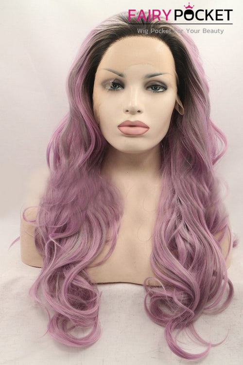 Black to Electric Pink Ombre Long Wavy Lace Front Wig