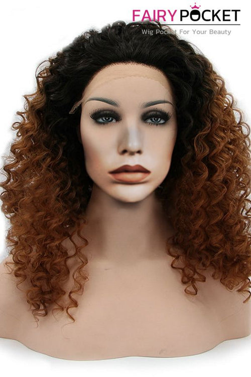 Black to Brown Ombre Medium Curly Lace Front Wig