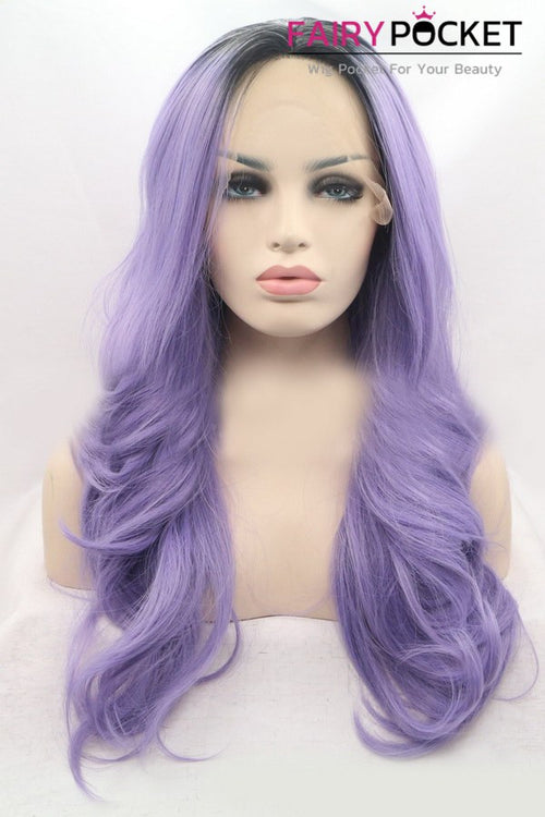 Nature Black to Light Orchid Ombre Long Wavy Lace Front Wig