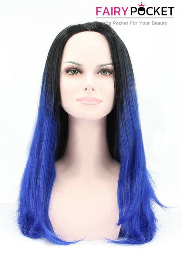 Nature Black to Royal Blue Ombre Long Straight Lace Front Wig