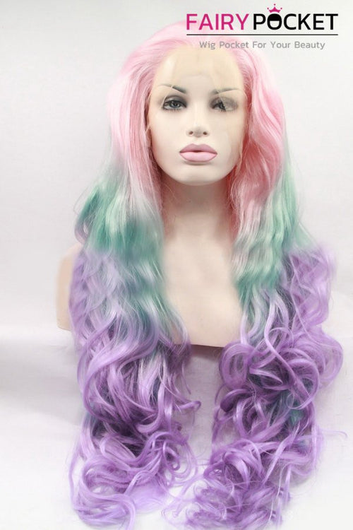 Light Pink turns Aqua to Purple Ombre Long Wavy Lace Front Wig