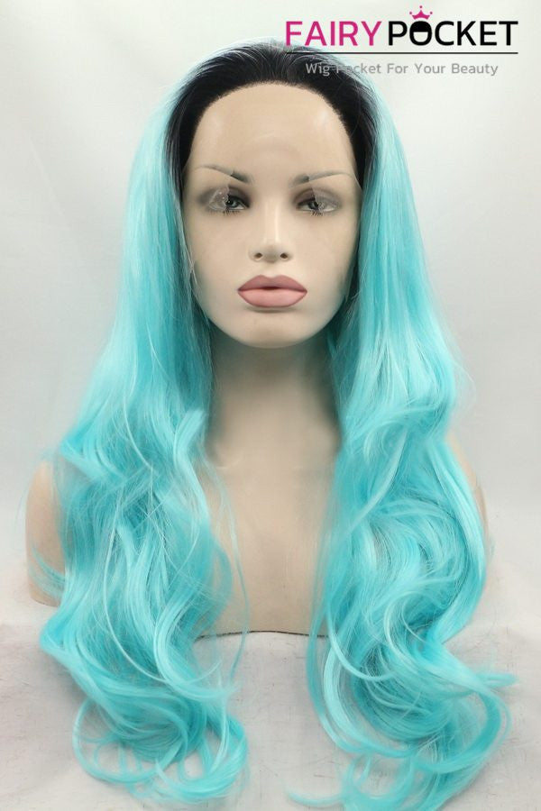 Black to Ocean Blue Ombre Long Wavy Lace Front Wig