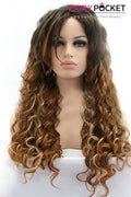 Black and Orange and Blonde Balayage Long Curly Lace Front Wig