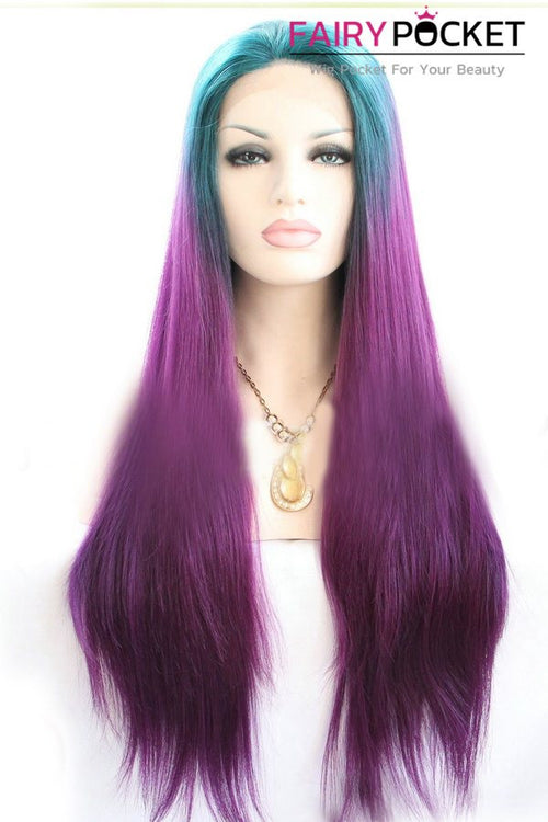 Ocean Blue to Purple Ombre Long Straight Lace Front Wig