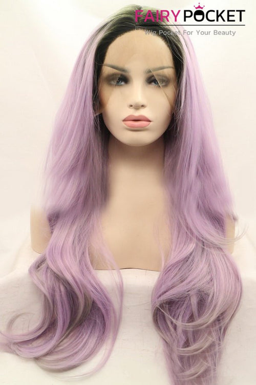 Black to Lavender Ombre Long Wavy Lace Front Wig