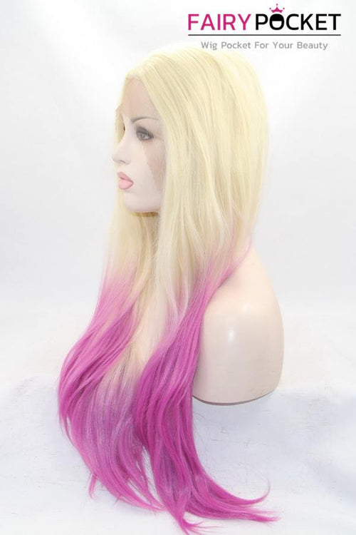 Blonde to Violet Purple Ombre Long Straight Lace Front Wig