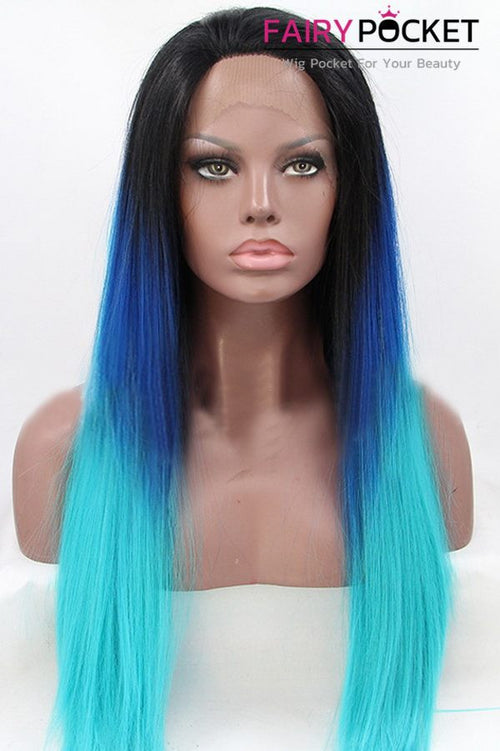 Nature Black turns Royal Blue to Cyan Ombre Long Straight Lace Front Wig