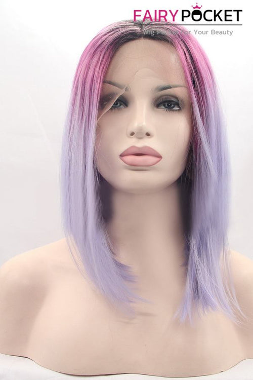 Nature Black turns Hot Pink to Light Orchid Purple Ombre Medium Straight Lace Front Wig