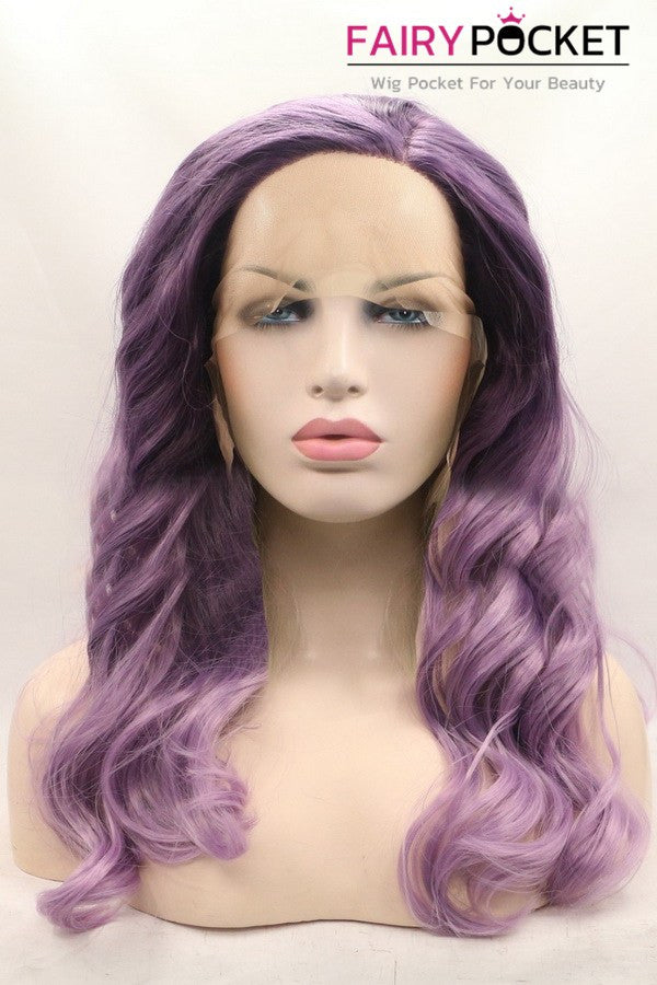 Lavender Long Wavy Lace Front Wig