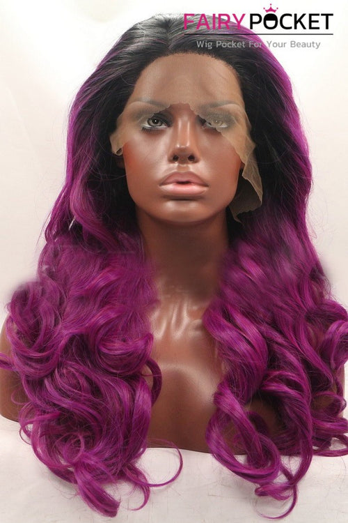 Nature Black to Violet Red Ombre Long Wavy Lace Front Wig