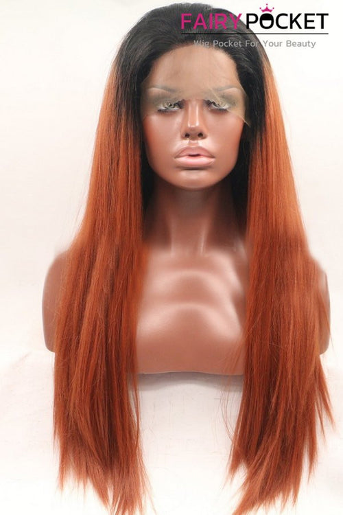 Nature Black to Orange Red Ombre Long Straight Lace Front Wig