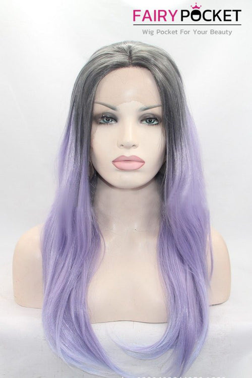 Grey to Lavender Ombre Long Wavy Lace Front Wig