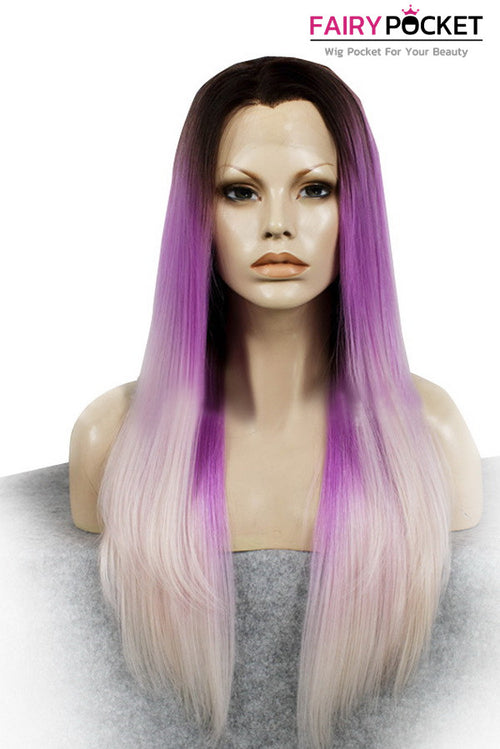 Black turns Orchid Purple to Light Pink Ombre Long Straight Lace Front Wig