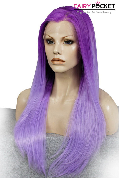 Dark Orchid Purple to Lavender Ombre Long Straight Lace Front Wig