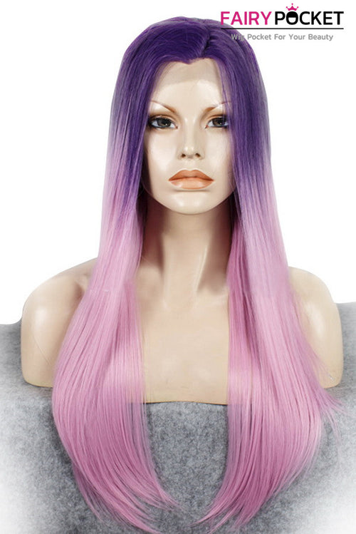 Dark Violet to Light Pink Ombre Long Straight Lace Front Wig