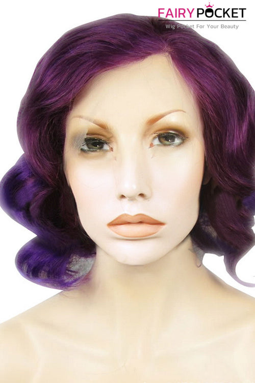 Black to Dark Violet Ombre Short Wavy Lace Front Wig