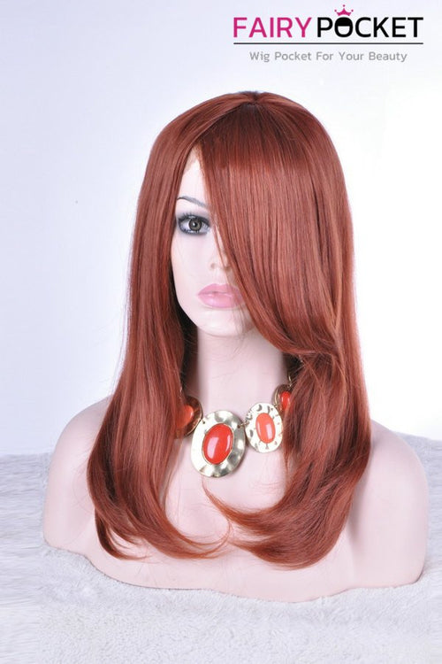 Maroon Long Straight Lace Front Wig