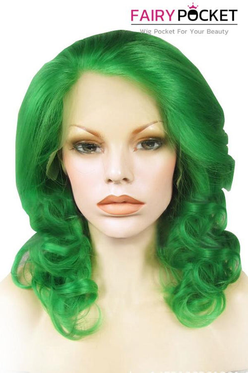 Green Medium Wavy Lace Front Wig