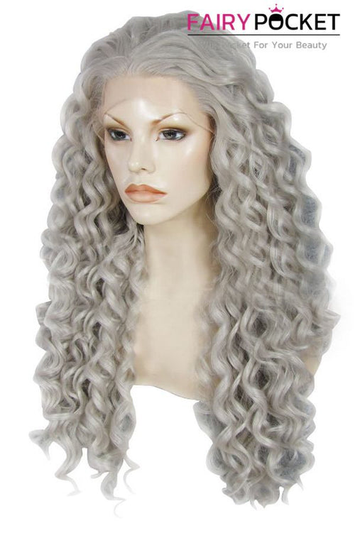 Grey Long Curly Lace Front Wig
