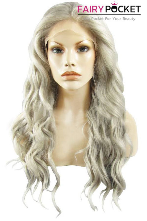 White Grey Long Wavy Lace Front Wig