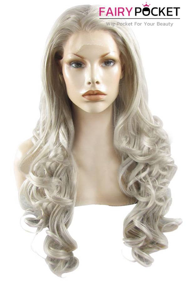Dark Grey Long Wavy Lace Front Wig