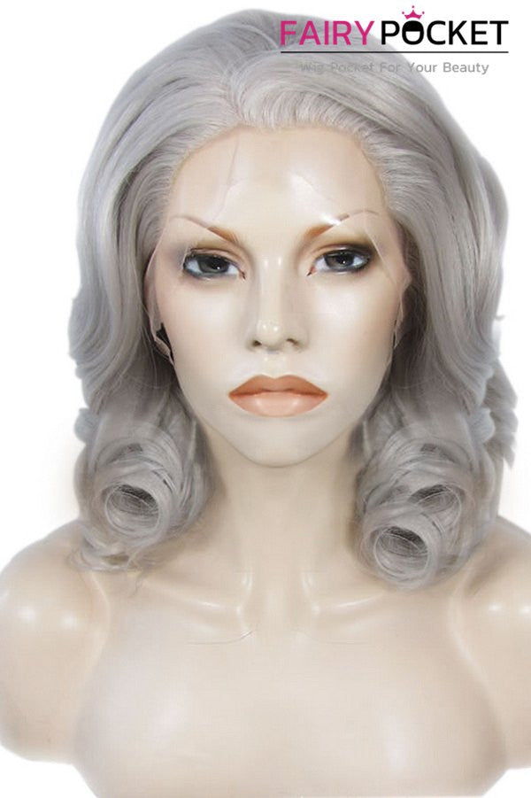 Grey Medium Wavy Lace Front Wig