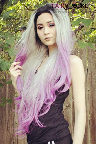 Gunmetal Gray With Splash Of Iris Purple Ombre Wavy Synthetic Lace Front Wig