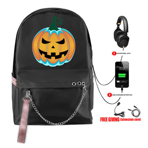 Happy Halloween Backpack with USB Charging Port (6 Colors) - BB
