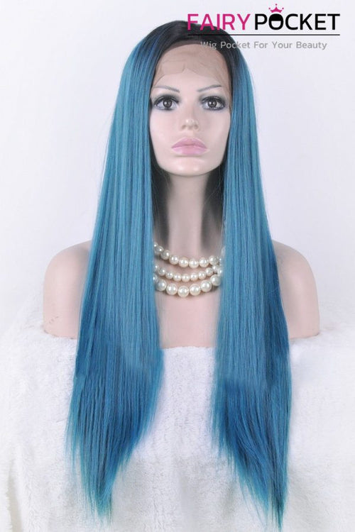 Ice Blue Highlight Long Straight Lace Front Wig
