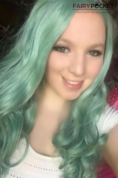Jade Green Wavy Synthetic Lace Front Wig