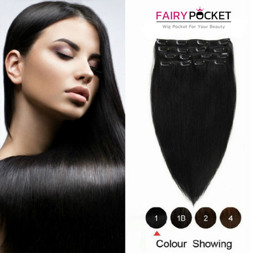 Jet Black Straight Clip In Remy Human Hair Extentions