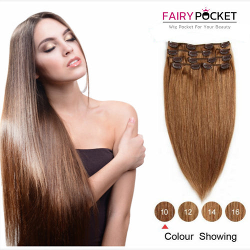Light Brown Straight Clip In Remy Human Hair Extentions