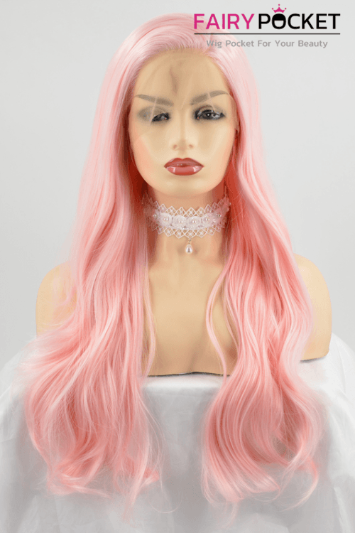 Light Pink Long Straight Lace Front Wig