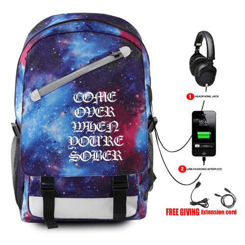 Lil Peep Backpack with USB Charging Port - E