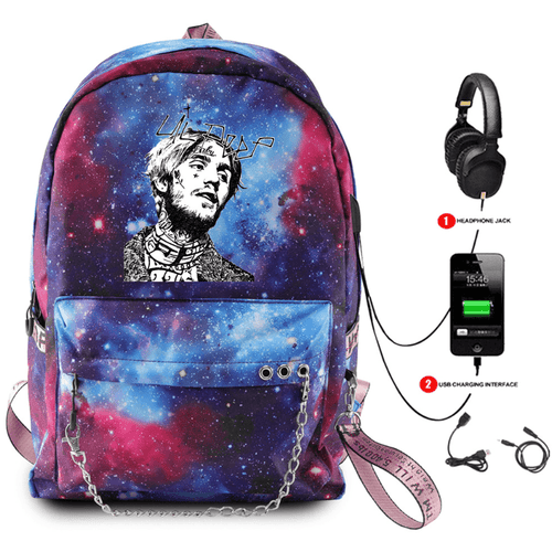 Lil Peep Backpack with USB Charging Port - F