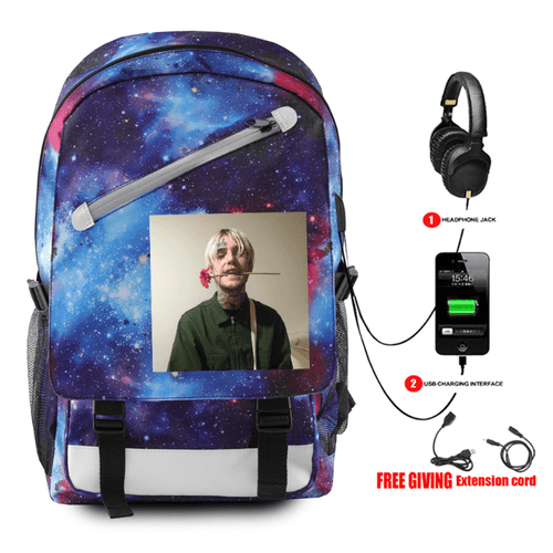 Lil Peep Backpack with USB Charging Port - G