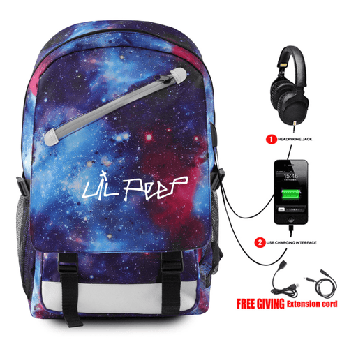 Lil Peep Backpack with USB Charging Port - H