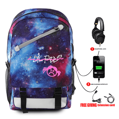 Lil Peep Backpack with USB Charging Port - J