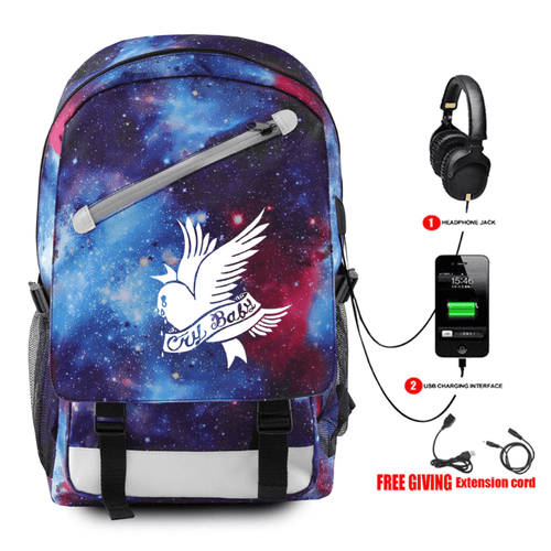 Lil Peep Backpack with USB Charging Port