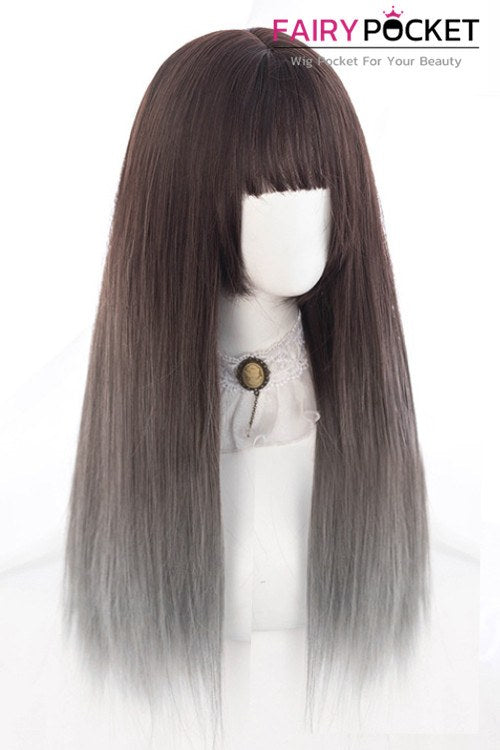 Lolita Long Straight Black Plum to Grey Ombre Basic Cap Wig