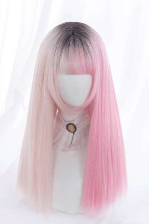 Lolita Long Straight Black to Pink Ombre Basic Cap Wig