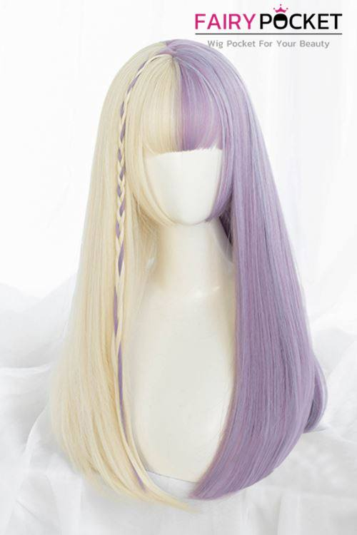 Lolita Long Straight Blonde and Purple Basic Cap Wig