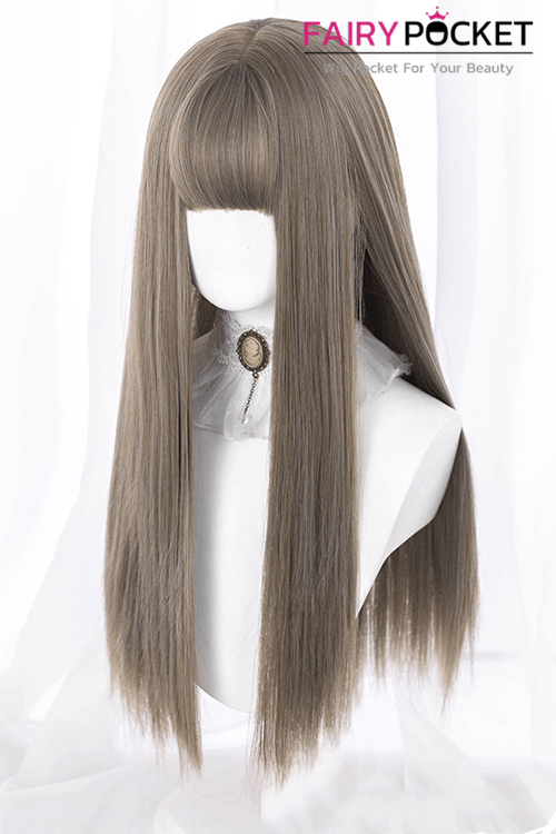Lolita Long Straight Brown Basic Cap Wig - B