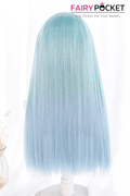 Lolita Long Straight Mint Julep Green to Baby Blue Ombre Basic Cap Wig