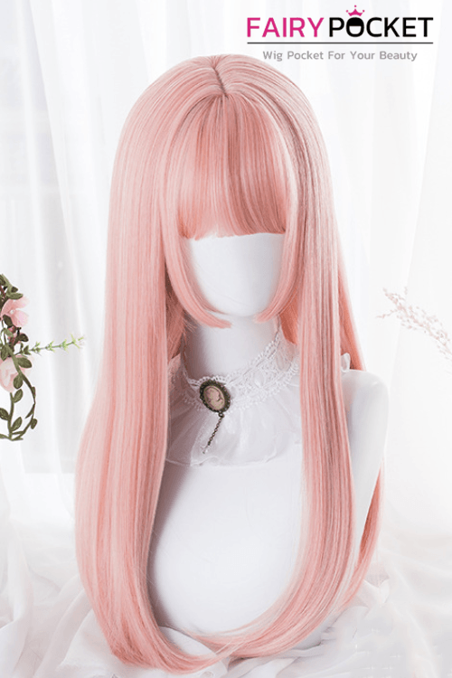 Lolita Long Straight Pink Basic Cap Wig - B