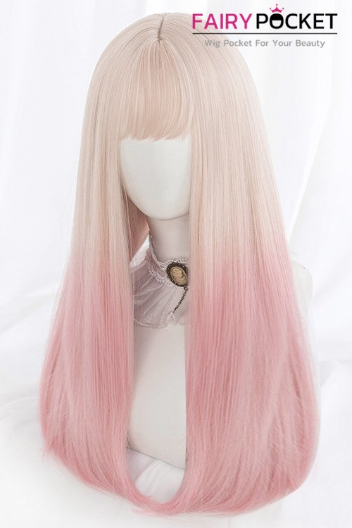 Lolita Long Straight Sand to Poodleskirt Pink Basic Cap Wig