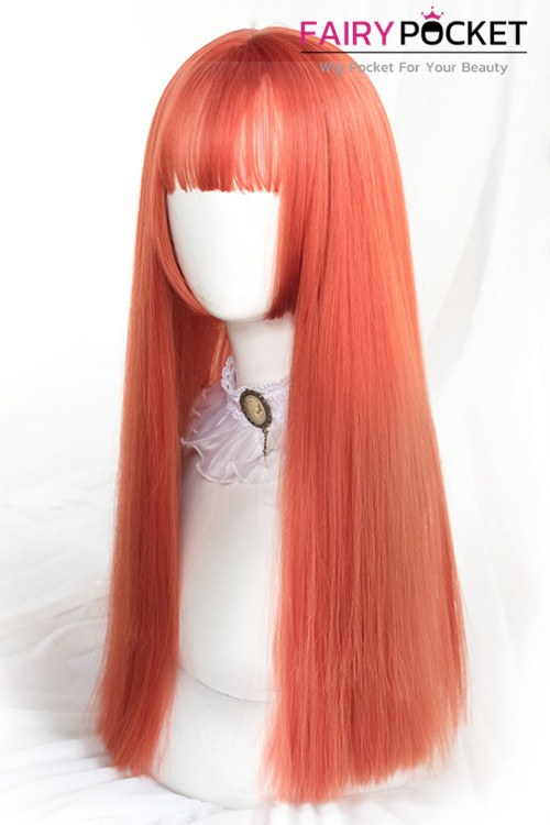 Lolita Long Straight Tangelo Orange Basic Cap Wig