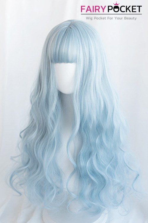 Lolita Long Wavy Baby Blue Basic Cap Wig - C
